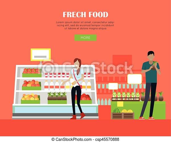 Fresh Food Store Concept Banner in Flat Design. - csp45570888