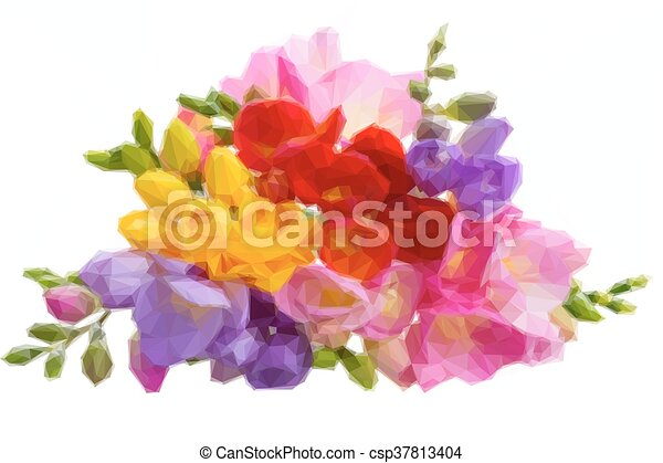 Fresh freesia flowers low poly illustration fresh yellow red pink fresh freesia flowers csp37813404 mightylinksfo