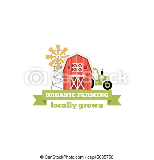 Fresh from the Farm concept logo. Template with farm landscape, windmill. Label for natural farm products. Colorful badge isolated on white background. Vector illustration. - csp45635750