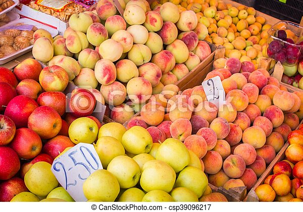 Fresh fruit at a market stall - csp39096217