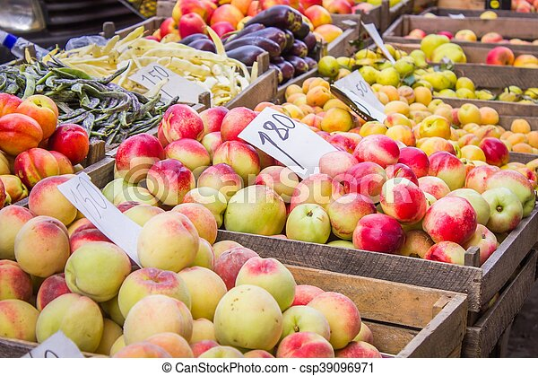 Fresh fruit at a market stall - csp39096971
