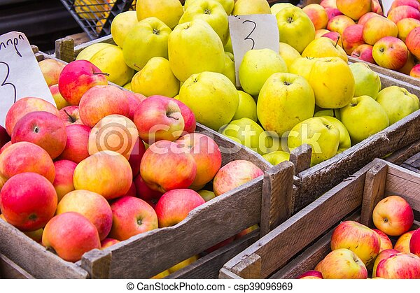 Fresh fruit at a market stall - csp39096969