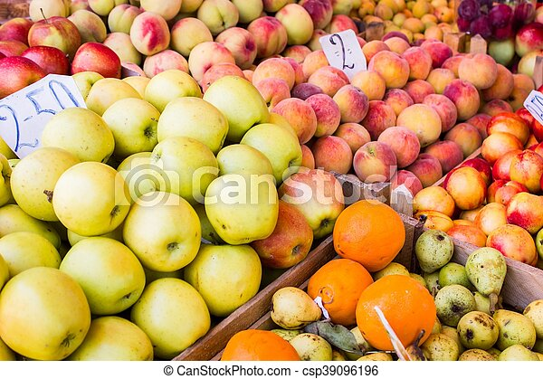 Fresh fruit at a market stall - csp39096196