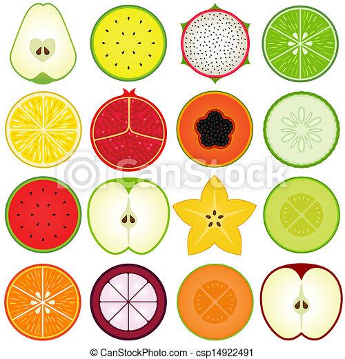 Fresh fruit cut in half  - csp14922491