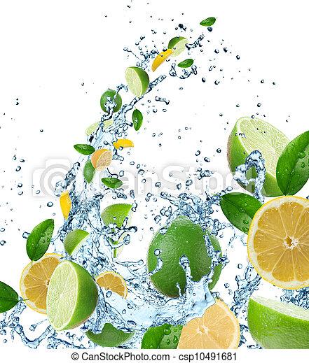 Fresh fruit in water splash - csp10491681