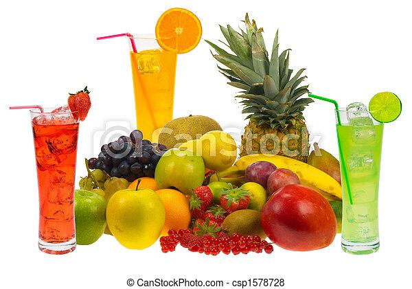 fresh fruit juice lots of fresh fruit and juice isolated on white