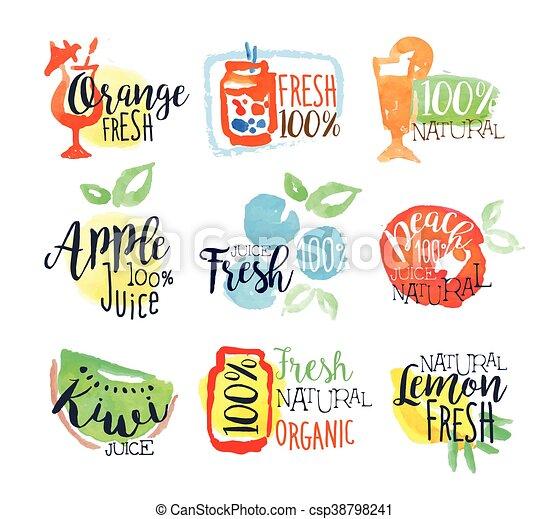 Fresh Fruit Juice Promo Signs Colorful Set