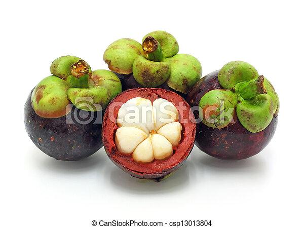 fresh fruit, mangosteen on white background - csp13013804