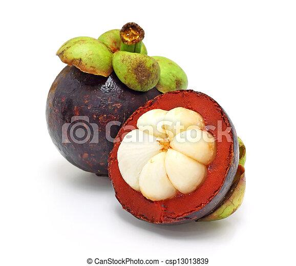 fresh fruit, mangosteen on white background - csp13013839