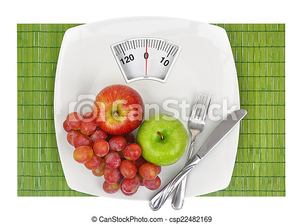 Fresh fruit on a plate with weighing scale - csp22482169