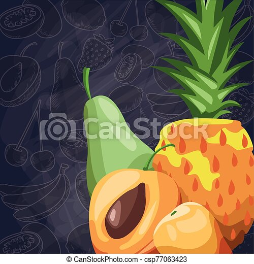 fresh fruit pineapple pear apricots food healthy - csp77063423