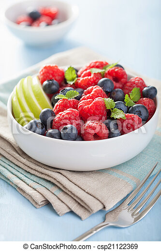 fresh fruit salad with raspberry blueberry apple - csp21122369
