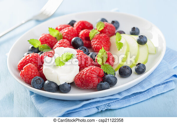 fresh fruit salad with raspberry blueberry apple - csp21122358