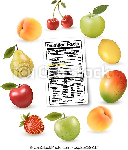 Fresh fruit with a nutrition facts label, Vector - csp25229237