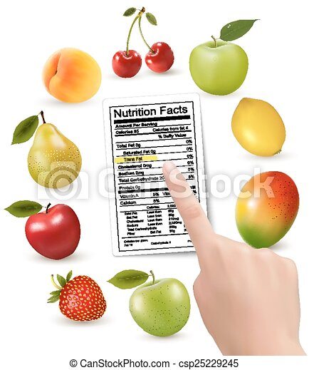 Fresh fruit with a nutrition facts label and hand. Vector - csp25229245