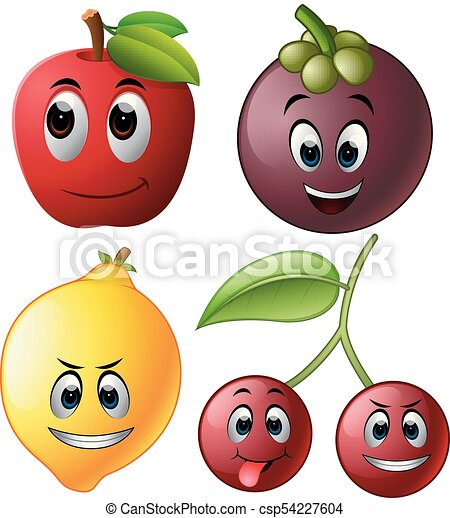 fresh fruit with face - csp54227604