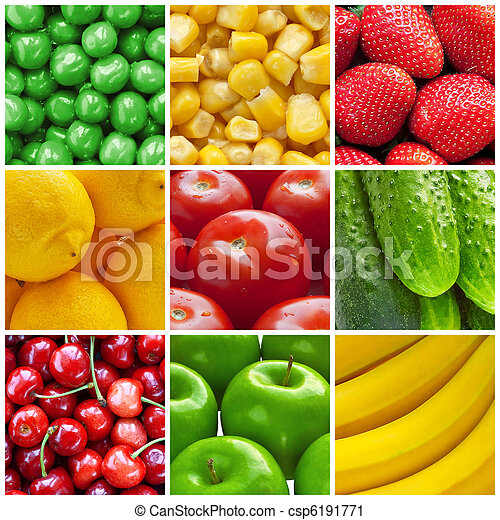 Fresh fruits and vegetables collage - csp6191771