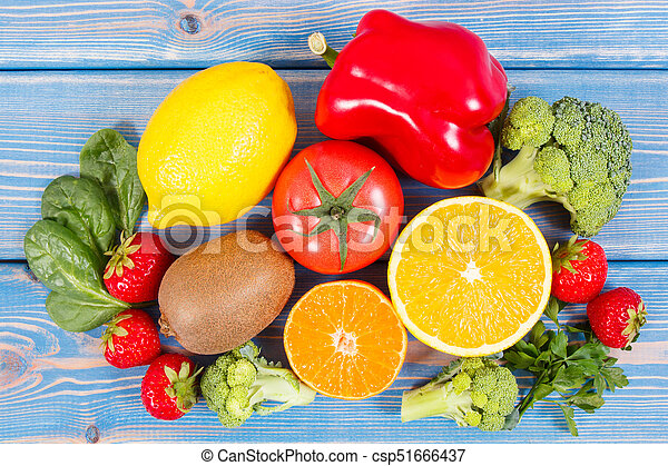 Fresh fruits and vegetables containing vitamin c concept of fresh fruits and vegetables containing vitamin c concept of strengthening immunity and healthy food workwithnaturefo