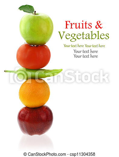 Fresh fruits and vegetables isolated on white - csp11304358