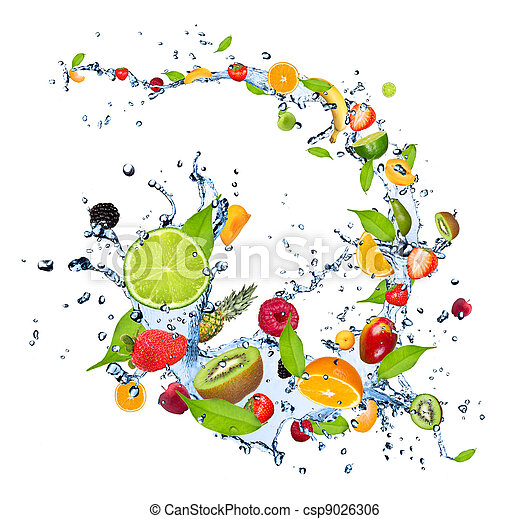 Fresh fruits falling in water splash, isolated on white background  - csp9026306