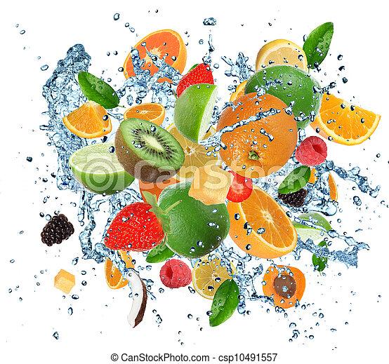 Fresh fruits in water splash - csp10491557