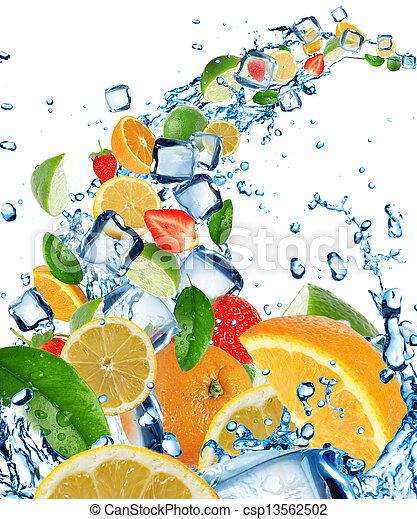 Fresh fruits in water splash - csp13562502