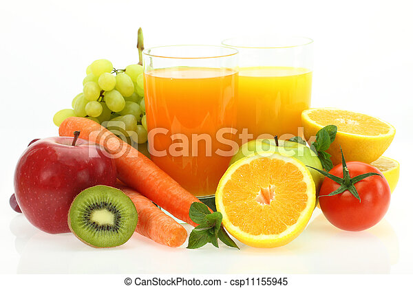 Fresh fruits, vegetables and juice - csp11155945
