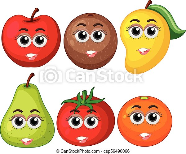 Fresh fruits with happy face - csp56490066