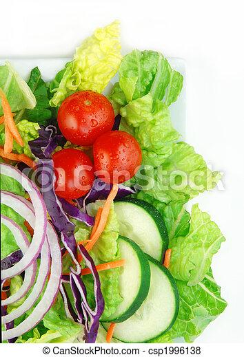 Fresh Garden Salad On White Background