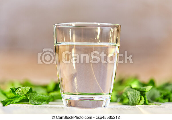 Fresh glass of water with mint on table - csp45585212