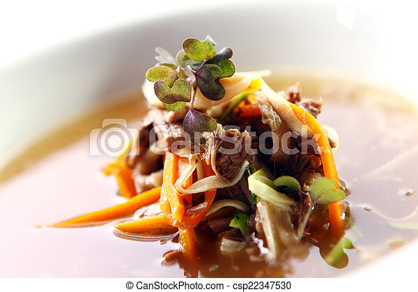 Fresh gourmet soup with meat - csp22347530