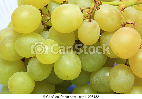 fresh grape fruits with green leaves - csp11296182