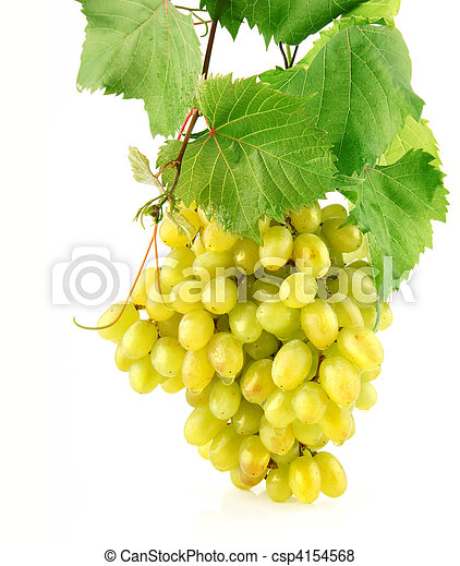 fresh grape with green leaves isolated fruit - csp4154568