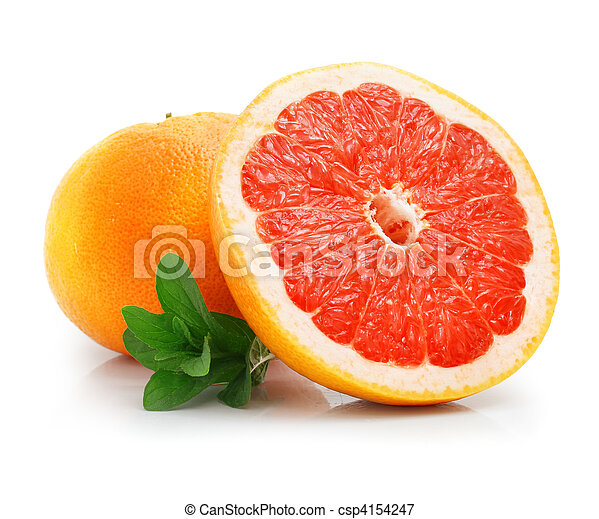 fresh grapefruit fruit with cut and green leaves - csp4154247