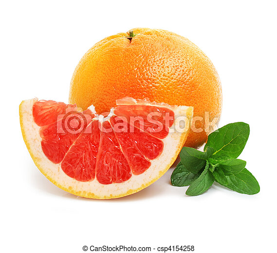 fresh grapefruit fruit with cut and green leaves - csp4154258