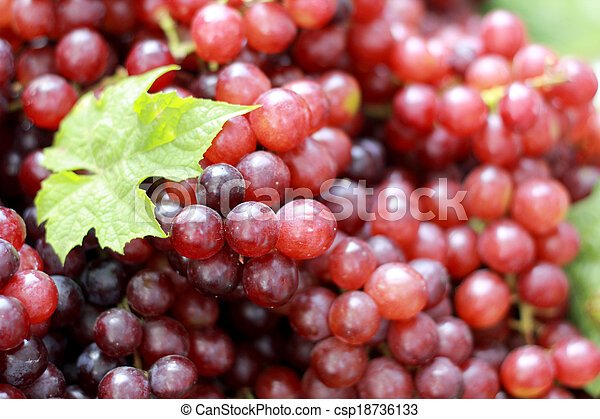 Fresh grapes with green leaves on a background. - csp18736133