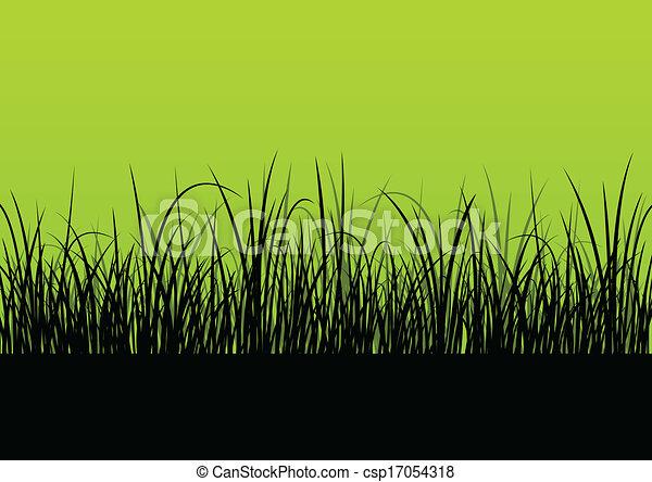 Fresh grass landscape detailed silhouette illustration background vector for poster - csp17054318