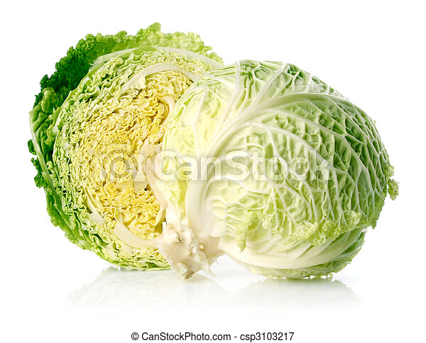 fresh green cabbage fruit with cut isolated on white - csp3103217