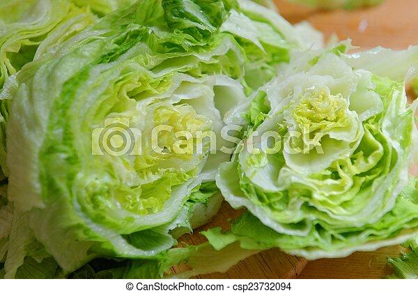 Fresh Green Iceberg lettuce - csp23732094