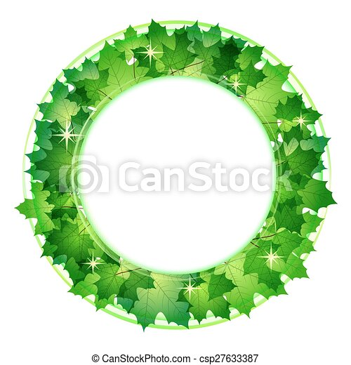 Fresh Green Leaves Vector Border.