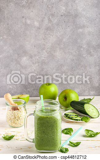 Fresh green smoothie from fruit and vegetables for a healthy lifestyle - csp44812712