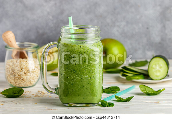 Fresh green smoothie from fruit and vegetables for a healthy lifestyle - csp44812714