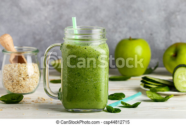 Fresh green smoothie from fruit and vegetables for a healthy lifestyle and ingredients - csp44812715