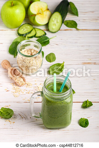 Fresh green smoothie from fruit and vegetables - csp44812716