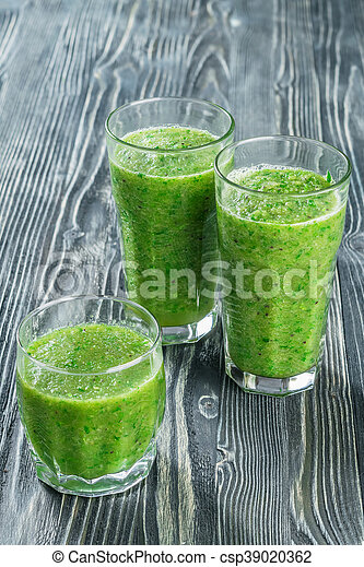 Fresh Green Smoothie from Fruit and Vegetables - csp39020362