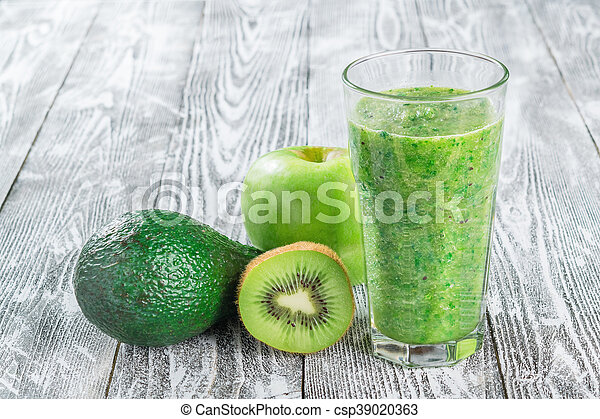 Fresh Green Smoothie from Fruit and Vegetables - csp39020363