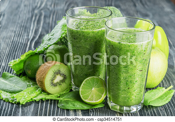 Fresh Green Smoothie from Fruit and Vegetables - csp34514751
