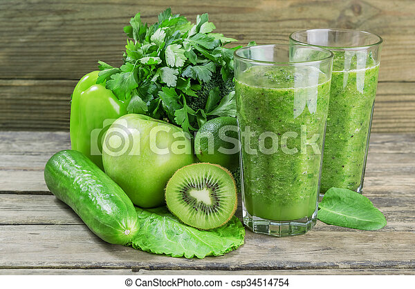 Fresh Green Smoothie from Fruit and Vegetables - csp34514754