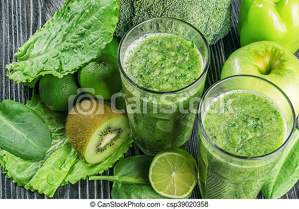 Fresh Green Smoothie from Fruit and Vegetables - csp39020358