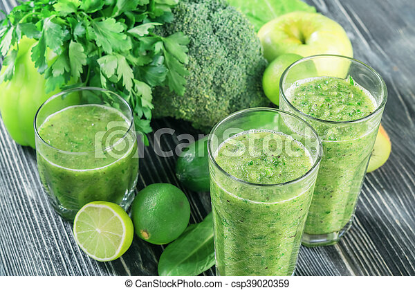 Fresh Green Smoothie from Fruit and Vegetables - csp39020359